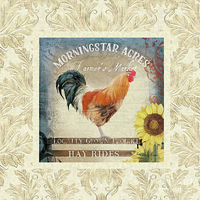 Farm Fresh Damask Barnyard Rooster Sunflower Square Poster by Audrey Jeanne Roberts