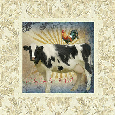 Poster featuring the painting Farm Fresh Damask Milk Cow Red Rooster Sunburst Family N Friends by Audrey Jeanne Roberts