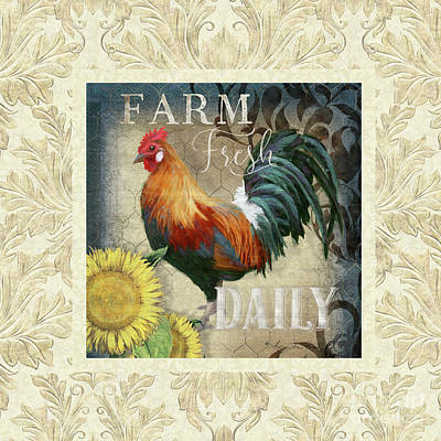 Farm Fresh Damask Red Rooster Sunflower Poster by Audrey Jeanne Roberts