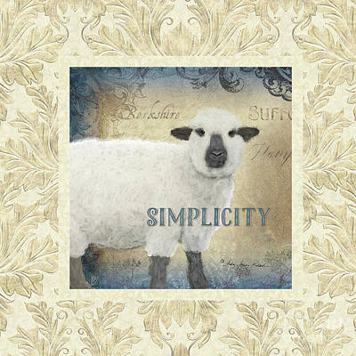 Poster featuring the painting Farm Fresh Damask Sheep Lamb Simplicity Square by Audrey Jeanne Roberts