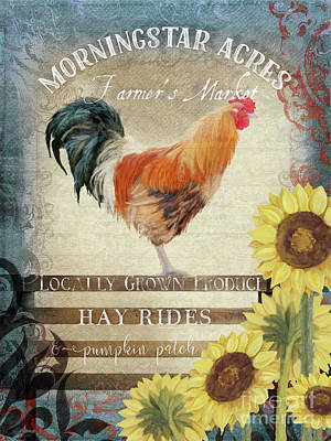 Poster featuring the painting Farm Fresh Morning Rooster Sunflowers Farmhouse Country Chic by Audrey Jeanne Roberts