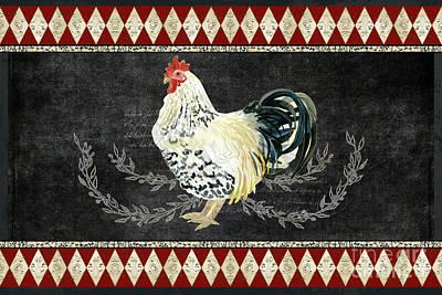 Farm Fresh Rooster 3 - On Chalkboard W Diamond Pattern Border Poster