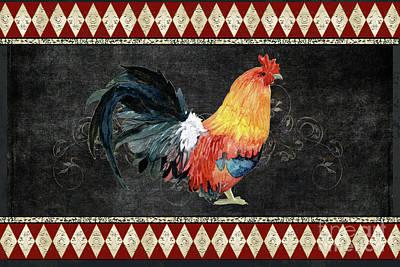 Farm Fresh Rooster 4 - On Chalkboard W Diamond Pattern Border Poster by Audrey Jeanne Roberts