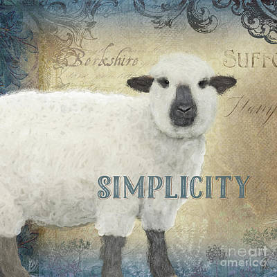 Poster featuring the painting Farm Fresh Sheep Lamb Simplicity Square by Audrey Jeanne Roberts
