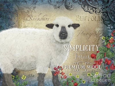 Poster featuring the painting Farm Fresh Sheep Lamb Wool Farmhouse Chic  by Audrey Jeanne Roberts