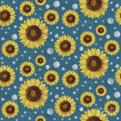 Farm Fresh Sunflower Blue Dot Circle Toss Pattern Poster