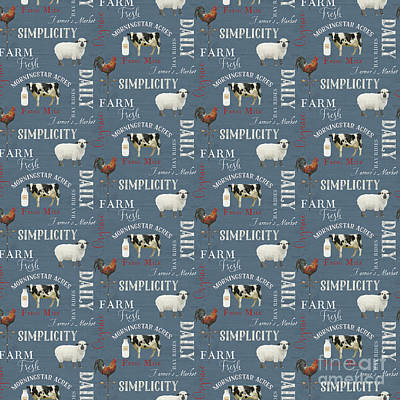 Farm Fresh Typography Country Cow Sheep Rooster Milk Blue Pattern Poster