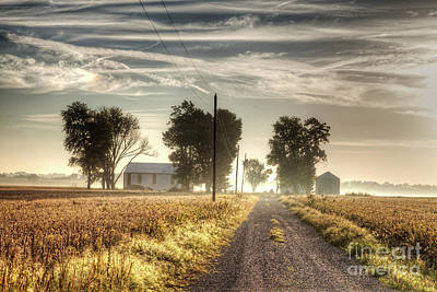Farm House Along A Gravel Road  Poster by Larry Braun