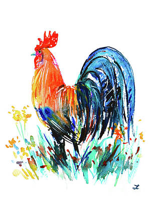 Poster featuring the painting Farm Rooster by Zaira Dzhaubaeva