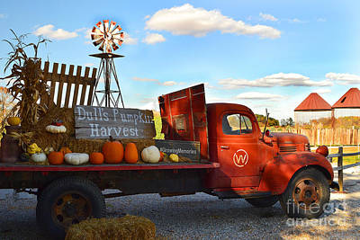 Farm With Red Truck In Fall  Poster