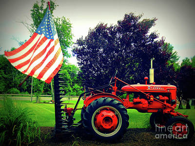 Farmall And Flag Poster