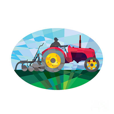 Farmer Driving Vintage Farm Tractor Oval Low Polygon Poster