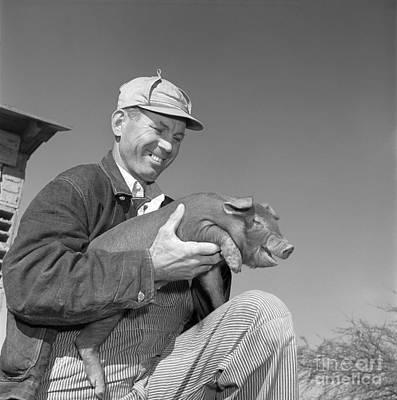 Farmer Holding Piglet, C.1950s Poster