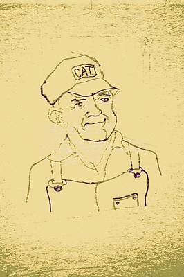 Farmer In Cat Hat Poster