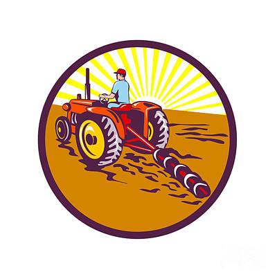 Farmer On Tractor Circle Retro Poster