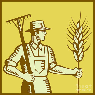 Farmer With Rake And Wheat Woodcut Poster