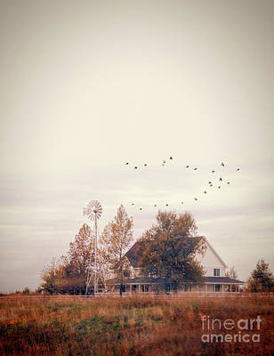 Farmhouse And Windmill Poster by Jill Battaglia