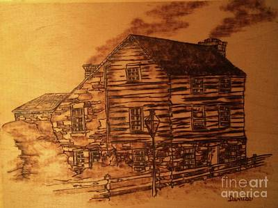 Poster featuring the pyrography Farmhouse by Denise Tomasura