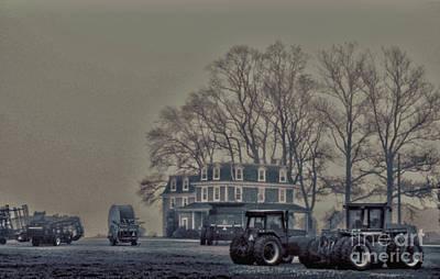 Farmhouse In Morning Fog Poster