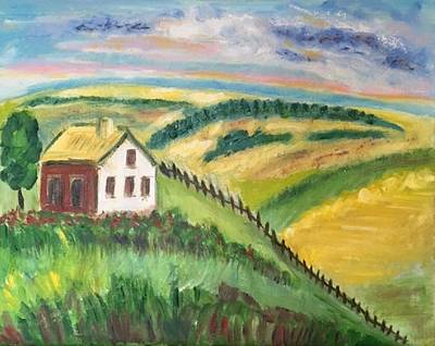 Farmhouse On A Hill Poster