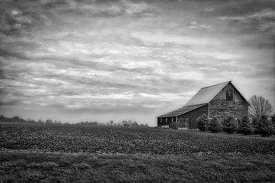 Farming Midwest American Barn Bw Poster by Thomas Woolworth