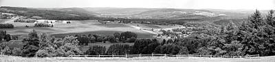 Farming Panorama Finger Lakes New York Bw Poster by Thomas Woolworth