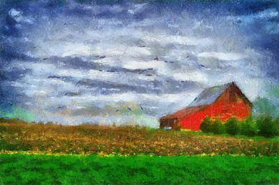 Farming Red Barn On A Quite Spring Day Pa 05 Poster by Thomas Woolworth