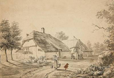 Farmyard With A Woman Carrying Water And A Flock Of Sheep Poster