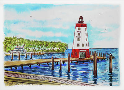 Poster featuring the painting Faro Blanco Lighthouse Florida Keys by Irina Sztukowski