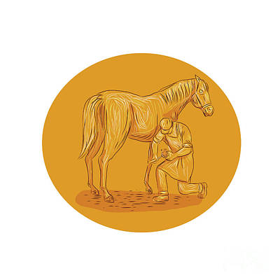 Farrier Placing Shoe On Horse Hoof Circle Drawing Poster