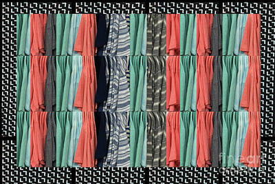 Poster featuring the photograph Fashion Fabric Textures Colorful Pattern On Pillows Tshirts Curtains Towels Gifts Christmas Holidays by Navin Joshi