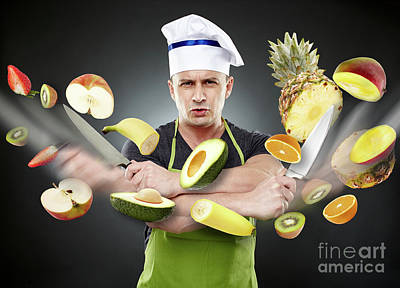 Fast Cook Slicing Vegetables In Mid-air Poster