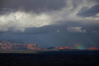 Poster featuring the photograph Fat Ground Rainbow, Red Rocks Sedona by Ron Chilston