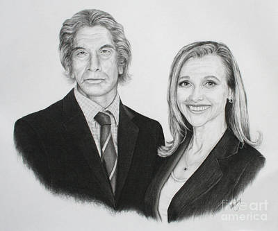 Poster featuring the drawing Father And Daughter by Mike Ivey