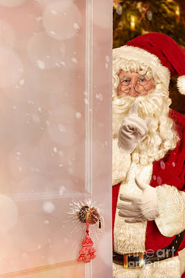 Father Christmas At The Door Poster