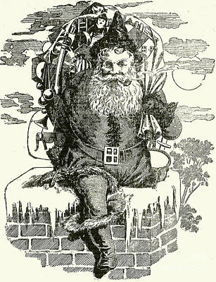 Father Christmas Climbing Down A Chimney Poster