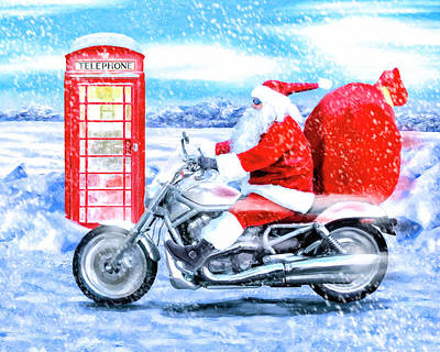 Poster featuring the mixed media Father Christmas Has A New Bike by Mark Tisdale