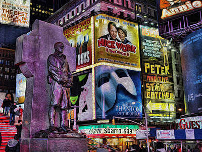 Father Duffy Watching Over Times Square Poster by Lee Dos Santos