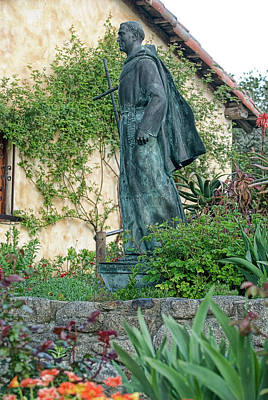 Father Junipero Serra Statue At Mission Carmel Poster