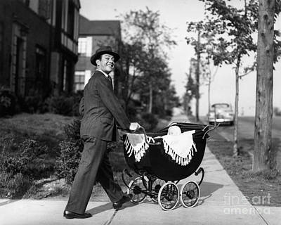Father Pushing Baby Carriage, C.1940-50s Poster by Debrocke/ClassicStock