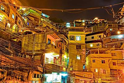 Poster featuring the photograph Favela Night by Kim Wilson