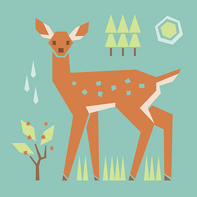 Fawn In The Meadow Poster by Mitch Frey
