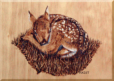 Poster featuring the pyrography Fawn by Ron Haist