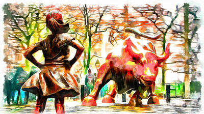Fearless Girl And Wall Street Bull Statues 10 Poster
