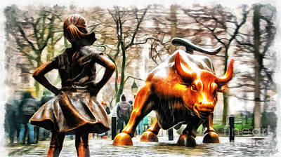 Fearless Girl And Wall Street Bull Statues 11 Poster