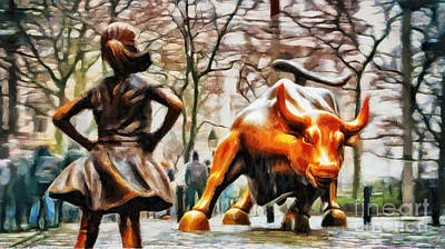 Fearless Girl And Wall Street Bull Statues 13 Poster