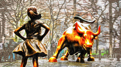Fearless Girl And Wall Street Bull Statues 14 Poster