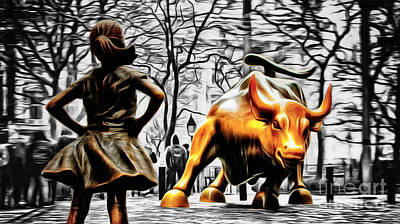 Fearless Girl And Wall Street Bull Statues 15 Poster