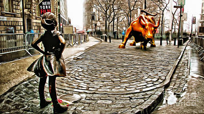 Fearless Girl And Wall Street Bull Statues 2 Poster by Nishanth Gopinathan