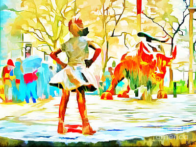 Fearless Girl And Wall Street Bull Statues 6 Watercolor Poster by Nishanth Gopinathan